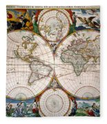 World Map, 17th Century Fleece Blanket