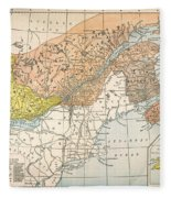 Map: Eastern Canada Fleece Blanket