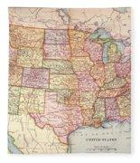 Map: United States, 1905 Fleece Blanket