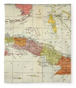 Map: Cuba, 1900 Fleece Blanket