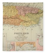 Map: Puerto Rico, 1900 Fleece Blanket
