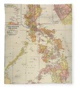 Map: Philippines, 1905 Fleece Blanket