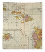 Map: Hawaii, 1905 Fleece Blanket