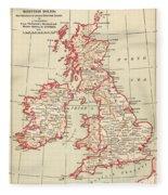 Map: British Isles, C1890 Fleece Blanket