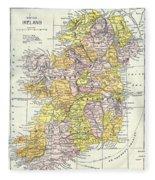 Map: Ireland, C1890 Fleece Blanket