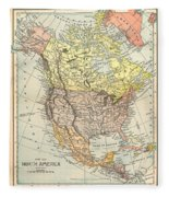 Map: North America, 1890 Fleece Blanket