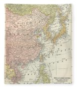 Map: East Asia, 1907 Fleece Blanket