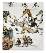 China: Anti-west Cartoon Fleece Blanket