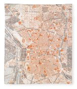 Spain: Madrid Map, C1920 Fleece Blanket
