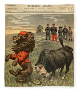 Boer War Cartoon, 1899 Fleece Blanket