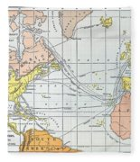 Map: Atlantic Voyages Fleece Blanket