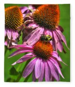 01 Bee And Echinacea Fleece Blanket