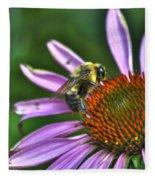 02 Bee And Echinacea Fleece Blanket