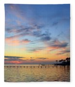 0201 Sunset Wisps On Sound Fleece Blanket