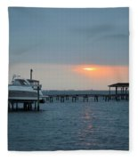 0204 Faint Sunrise On Sound Fleece Blanket