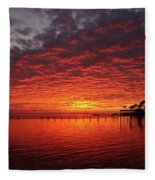 0205 Awesome Sunset Colors On Santa Rosa Sound Fleece Blanket