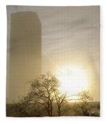 05 Foggy Sunday Sunrise Fleece Blanket