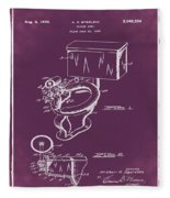1936 Toilet Bowl Patent Chalk Fleece Blanket