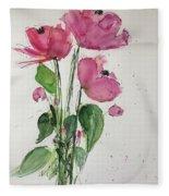 3 Pink Flowers Fleece Blanket