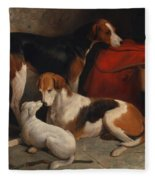 A Couple Of Foxhounds With A Terrier - The Property Of Lord Henry Bentinck  Fleece Blanket