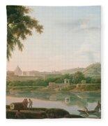A Distant View Of Rome Across The Tiber Fleece Blanket