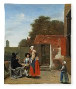 A Dutch Courtyard Fleece Blanket