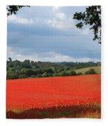 A Field Of Red Poppies Fleece Blanket