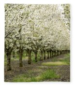 A Flowering Cherry Orchard Fleece Blanket