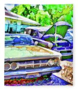A Line Of Classic Antique Cars 3 Fleece Blanket