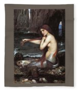 A Mermaid John William Waterhouse Fleece Blanket