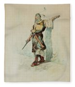 A Moorish Soldier Before A Sunlit Wall Fleece Blanket