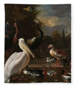 A Pelican And Other Birds Near A Pool, Known As The Floating Feather, Melchior D Hondecoeter, Fleece Blanket