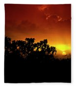 A Red Hot Desert Sunset  Fleece Blanket