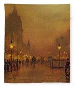 A Street At Night Fleece Blanket