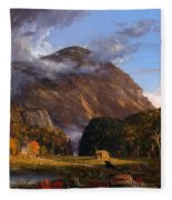 A View Of The Mountain Pass Called The Notch Of The White Mountains Fleece Blanket