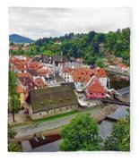 A View Overlooking The Vltava River And Cesky Krumlov In The Czech Republic Fleece Blanket