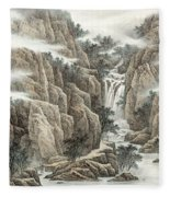 A Waterfall In The Mountains Fleece Blanket