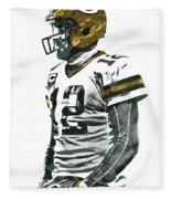 Aaron Rodgers Green Bay Packers Pixel Art 5 Fleece Blanket
