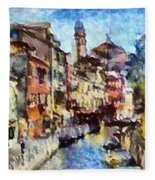 Abstract Canal Scene In Venice L A S Fleece Blanket