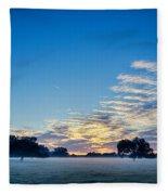 Abstract Early Morning Sunrise Over Farm Land Fleece Blanket