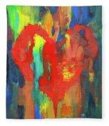 Abstract Red Heart Acrylic Painting Fleece Blanket