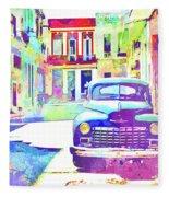 Abstract Watercolor - Havana Cuba Classic Car IIi Fleece Blanket