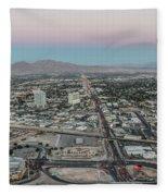Aerial View Of Las Vegas City Fleece Blanket