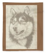 Alaskan Malamute And Pup Fleece Blanket