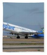 Allegiant Air Mcdonnell-douglas Md-83 N429nvmesa Gateway Airport Arizona March 11 2011 Fleece Blanket