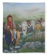 Along The Bozeman Trail Fleece Blanket