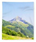 Alpine Mountain Peak Landscape. Fleece Blanket
