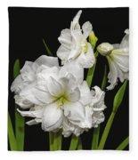 White Amaryllis Fleece Blanket