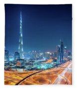Amazing Night Dubai Downtown Skyline, Dubai, United Arab Emirates Fleece Blanket