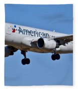 American Airlines Plane Preparing To Land At The Bwi Airport Fleece Blanket